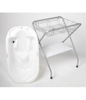 Eurobath (White) And Folding Bath Stand