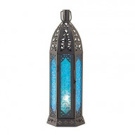 Patterned Blue Glass Candle Tower - 13 inches