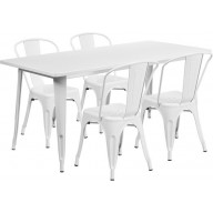 31.5'' x 63'' Rectangular White Metal Indoor-Outdoor Table Set with 4 Stack Chairs