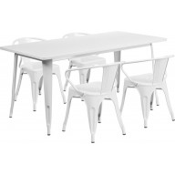 31.5'' x 63'' Rectangular White Metal Indoor-Outdoor Table Set with 4 Arm Chairs