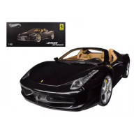 Ferrari 458 Spider F1 Glossy Black Elite Edition 1/18 Diecast Car Model By Hotwheels