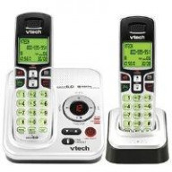 Dect 6.0 Expandable Two Handset Cordless Phone System, Answering Machine, Caller Id, Black/Silver