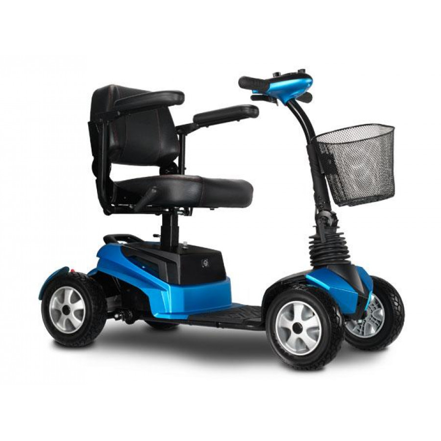 Riderxpress-Blue-4 Wheel Transportable Scooter, 450W Motor, Front Basket & W/Free