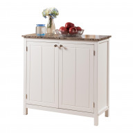 Pilaster Designs - White With Marble Finish Top Kitchen Island Storage Cabinet