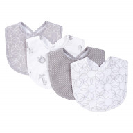Gray And White Circles 4 Pack Bib Set