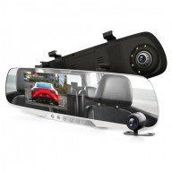 DVR Rearview Mirror Dash Cam Kit - Vehicle Dual Camera Video Recording System with Full HD 1080p
