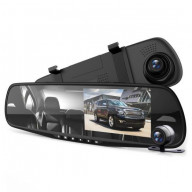 DVR Rearview Mirror Dash Cam Kit - Dual Camera Vehicle Video Recording System with Full HD 1080p