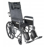 Silver Sport Reclining Wheelchair with Elevating Leg Rests, Detachable Full Arms, 20