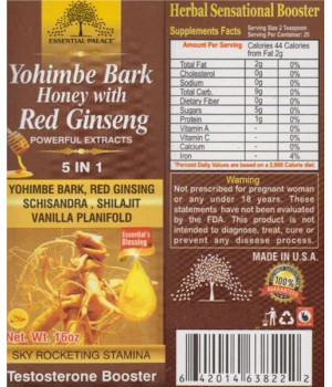 Yohimbe Bark Honey With Red Ginseng