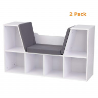 Bookcase with Reading Nook - White - Pack of 2