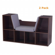 Bookcase with Reading Nook - Espresso - Pack of 2