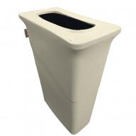 LA Linen Stretch Spandex Trash Can cover for Slim Jim 23-Gallon, Ivory