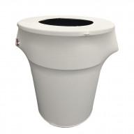 LA Linen Stretch Spandex Trash Can cover 55-Gallon Round,White