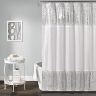 Shimmer Sequins Shower Curtain Silver 70x72