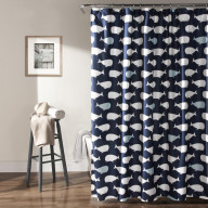 Whale Shower Curtain Navy 72x72