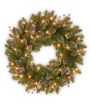 24%22+Glittery+Mountain+Spruce+Wreath+with+White+Edged+Cones%2C+Red+Berries+and+50+Warm+White+Battery+Operated+LED+Lights+with+Timer