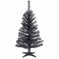3' Black Tinsel Tree with Plastic Stand