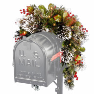 3' Wintry Pine Collection Mailbox Swag with Red Berries, Cones & Snowflakes with 15 Battery Operated Soft White LED Lights