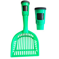 Pet Life Poopin-Scoopin Dog And Cat Pooper Scooper Litter Shovel With Built-In Waste Bag Handle Holster - One Size - Green
