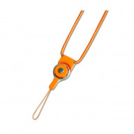REIKO LONG LANYARD STRAP WITH CLIP IN ORANGE