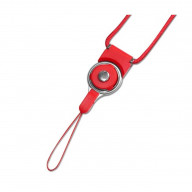 REIKO LONG LANYARD STRAP WITH CLIP IN RED