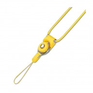 REIKO LONG LANYARD STRAP WITH CLIP IN YELLOW