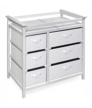 Modern Baby Changing Table with Six Baskets - White