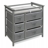 Modern Baby Changing Table with Six Baskets - Gray
