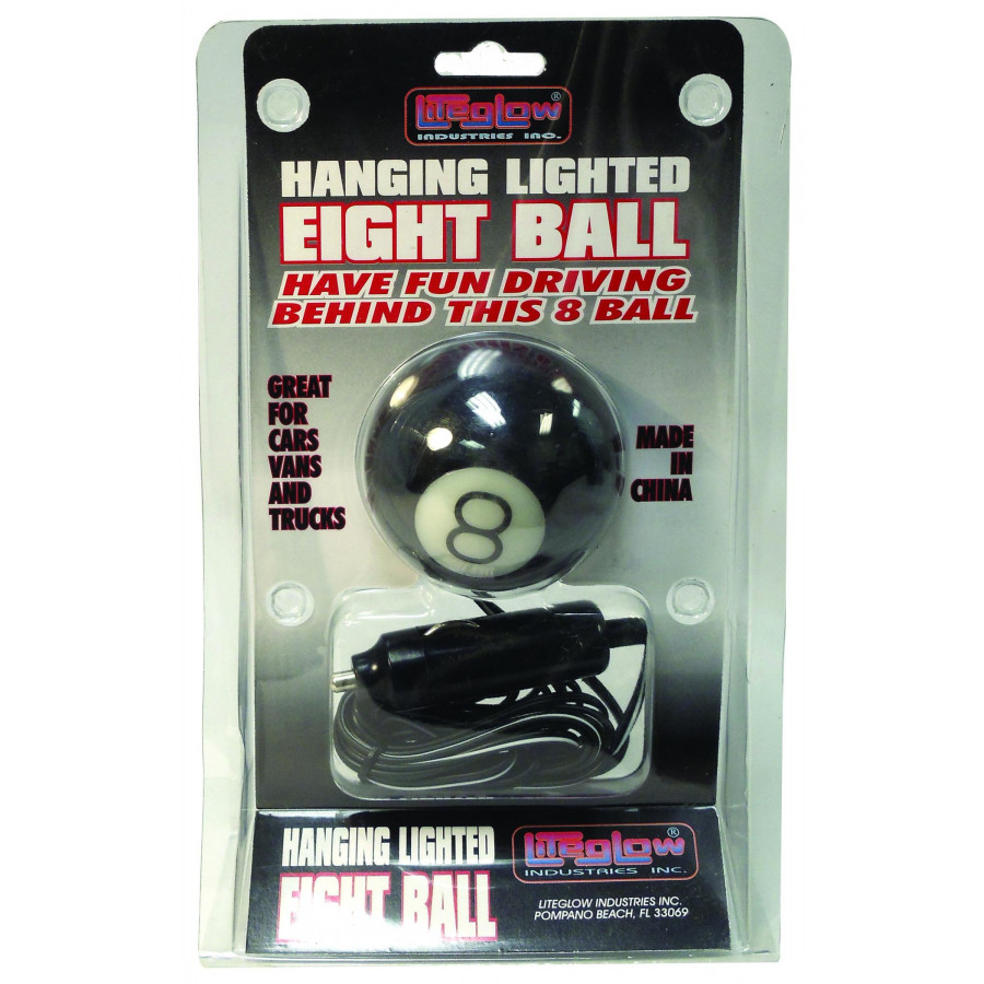 LITE-GLOW - 12 VOLT HANGING LIGHTED EIGHT BALL WITH CIGARETTE PLUG