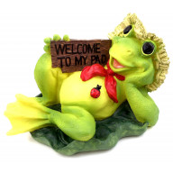 WELCOME TO MY PAD DECORATIVE RESIN FROG