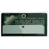 BARJAN ONE PAIR SMALL RECTANGULAR CHROME HEADLIGHT SHIELDS FOR 4651,4652,H4651 AND H4656 SEALED BEAMS