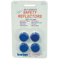 BARJAN MULTI-PURPOSE MINI BLUE ROUND SELF ADHESIVE SAFETY REFLECTORS - 4 PER CARD