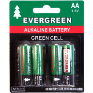 EVERGREEN 4 PACK AA CELL ALKALINE BATTERY
