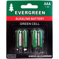 EVERGREEN 4 PACK AAA CELL ALKALINE BATTERY