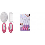 Dreambaby Deluxe Brush and Comb Set and Three Stage Toothbrush Set, Pink