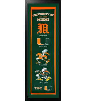University of Miami Logo History Felt Banner 14 x 37