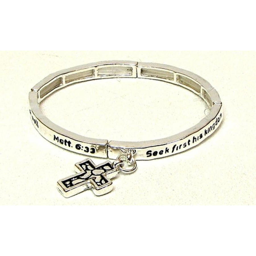 Stackable Stretch Bangle Cross Charm