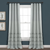 Vintage Stripe Yarn Dyed Cotton Window Curtain Panels Denim Blue 40X84 Set
