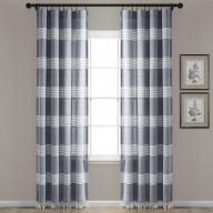 Tucker Stripe Yarn Dyed Cotton Knotted Tassel Window Curtain Panels Navy 40X84 Set