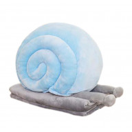 Set of Office Cushion Creative Snails Pillow and Coral Velvet Blanket, Blue