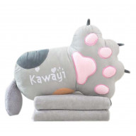 Set of Office Cushion Cartoon Cat Claw Pillow and Coral Velvet Blanket, Gray