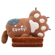 Set of Office Cushion Cartoon Cat Claw Pillow and Coral Velvet Blanket, Brown
