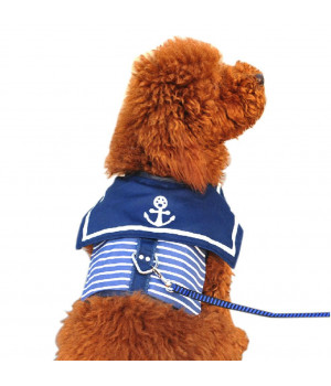 [Navy] Dog Cute Apparel Pet Clothing Puppy Clothes Pet Apparel for Bust 14~17 In