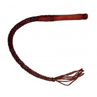Professional Short Braided Whip Chinese Style Riding Crop, Red(70 cm)