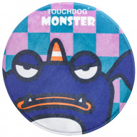Touchdog Cartoon Crabby Tooth Monster Rounded Cat and Dog Mat- One Size/Navy Monster