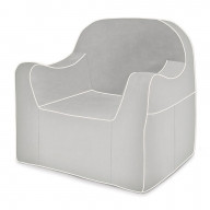 P'kolino Reader Chair Grey with white piping