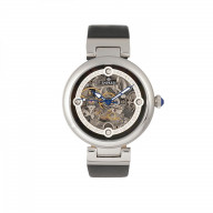 Empress Adelaide Automatic Skeleton Leather-Band Watch - Black