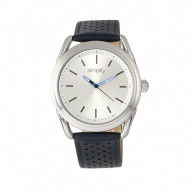 Simplify The 5900 Leather-Band Watch - Silver/Blue