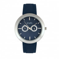 Simplify The 6100 Canvas-Overlaid Strap Watch w/ Day/Date - Blue