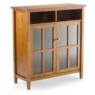 Warm Shaker Solid Wood Medium Storage Media Cabinet in Light Golden Brown
